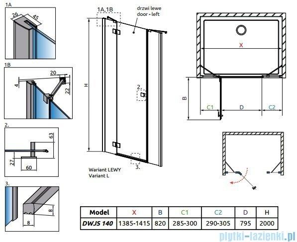 Radaway Essenza New DWJS drzwi wnękowe 140cm lewe szkło przejrzyste 385033-01-01L/384090-01-01