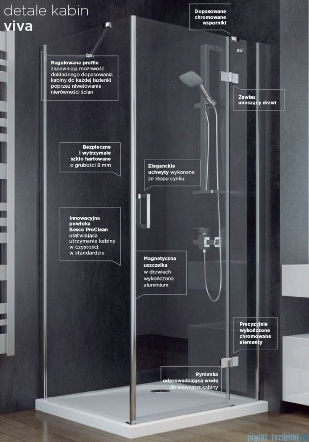 Besco Viva kabina prostokątna prawa 100x80x195cm przejrzyste VPP-100-195C