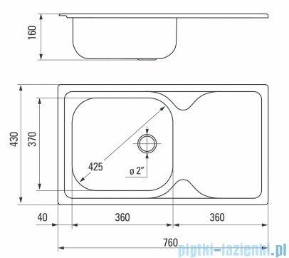 Deante Techno zlewozmywak 1-komorowy z ociekaczem 76x43,5 cm satyna ZYU 0110