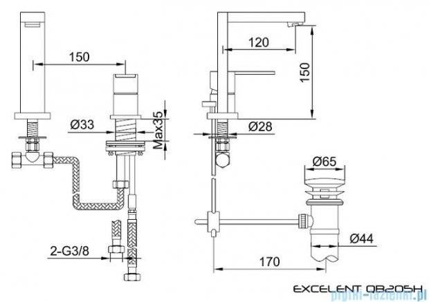Kohlman Excelent 2-otworowa bateria umywalkowa QB205H