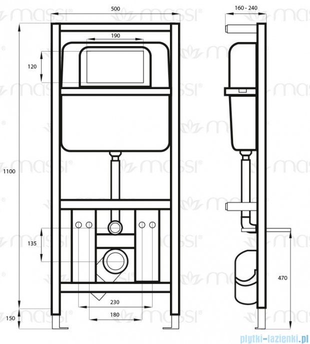 Massi Ippo pro stelaż podtynkowy WC MSST-003