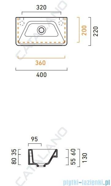 Catalano Proiezioni 40 umywalka 40x22 biała 140PR00