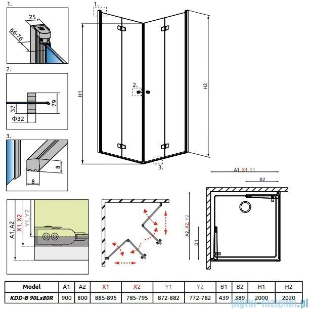 Radaway Fuenta New Kdd-B kabina 90x80cm szkło przejrzyste 384071-01-01L/384070-01-01R