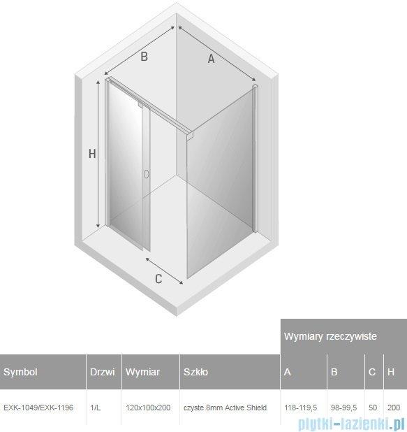 New Trendy Porta kabina prostokątna lewa 120x100cm przejrzyste EXK-1049/EXK-1196