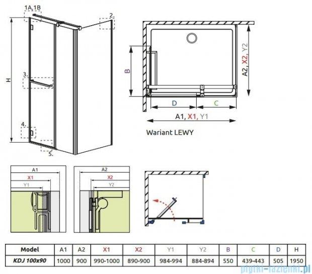 Radaway Carena Kdj Kabina prostokątna 100x90 lewa szkło przejrzyste + brodzik Argos + syfon 34444-01-01NL