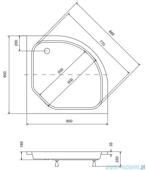 Sea Horse Sigma zestaw kabina natryskowa półokrągła niska 80x80cm chinchilla+brodzik BKZ1/3/K