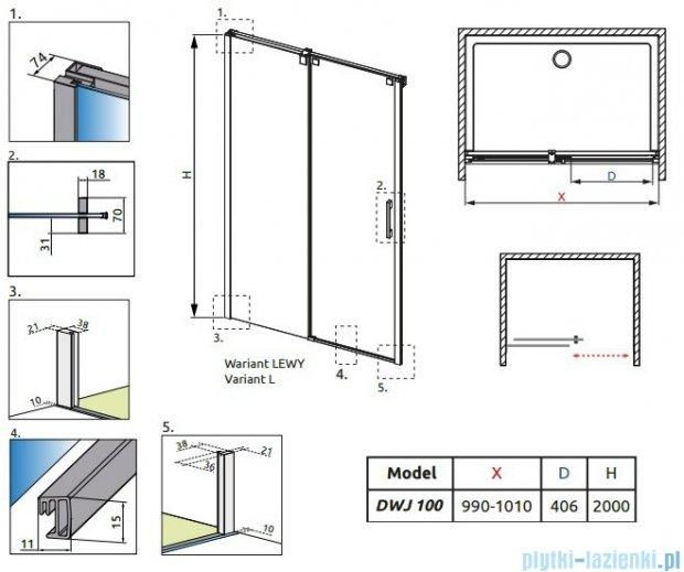 Radaway Espera DWJ Drzwi wnękowe przesuwne 100 lewe szkło przejrzyste 380110-01L