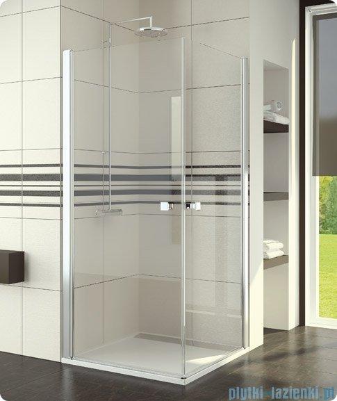 SanSwiss Swing-Line Sle1 Wejście narożne jednoczęściowe 80cm profil srebrny szkło przejrzyste Lewe SLE1G08000107