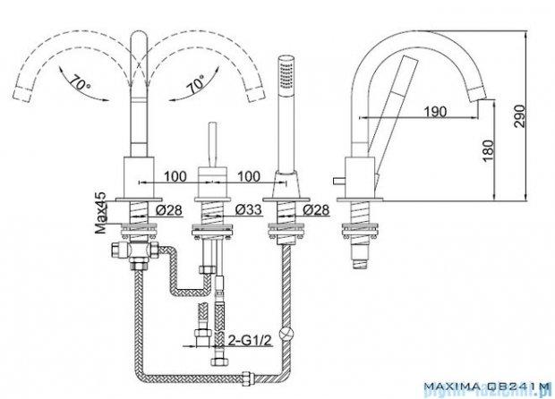 Kohlman Maxima 3-otworowa bateria wannowa QB241M