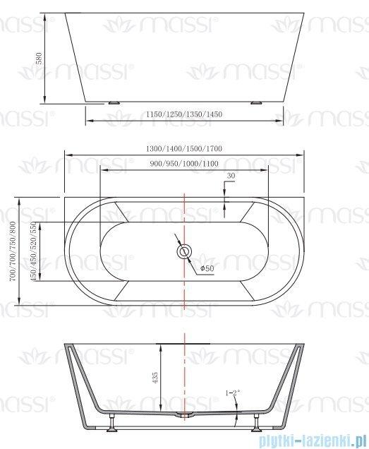 Massi Wall 140 wanna wolnostojąca przyścienna 140x70 cm biała MSWA-6815B140