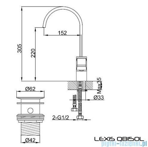 Kohlman Lexis bateria umywalkowa z obrotową wylewką QB150L