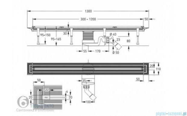 Viega Advantix Vario kompletny odpływ liniowy z rusztem o regulowanej długości 30-120cm chrom 686277+686291