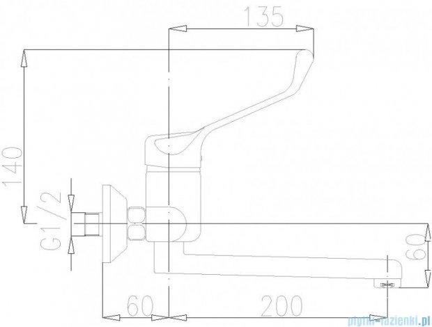 KFA Bateria specjalna umywalkowo-zlewozmywakowa lekarska ścienna chrom dł. 200 mm 470-980-00
