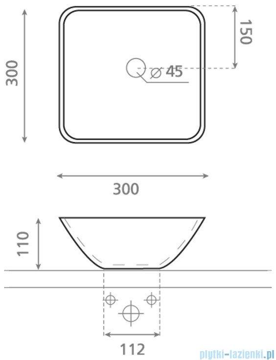 Bathco Baviera umywalka nablatowa 30x30cm biała 4050