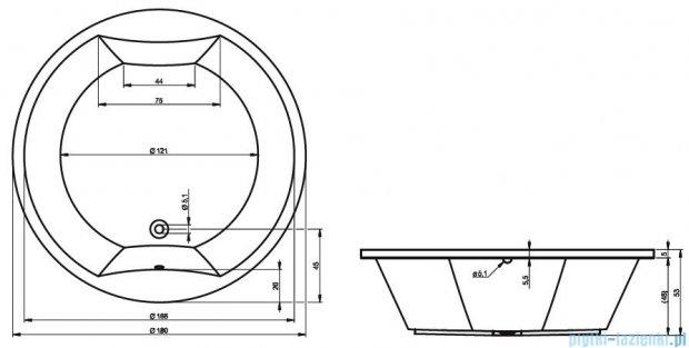 Riho Colorado wanna okrągła 180cm z hydromasażem PRO Hydro 6+3+3/Aero24 BB02P7