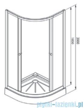 Alterna Iris kabina półokrągła 2-ścienna 90x90x185 cm przejrzysta ALTN-965772