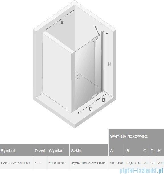 New Trendy kabina Kamea 100x90x200cm prawa przejrzyste EXK-1132/EXK-1050