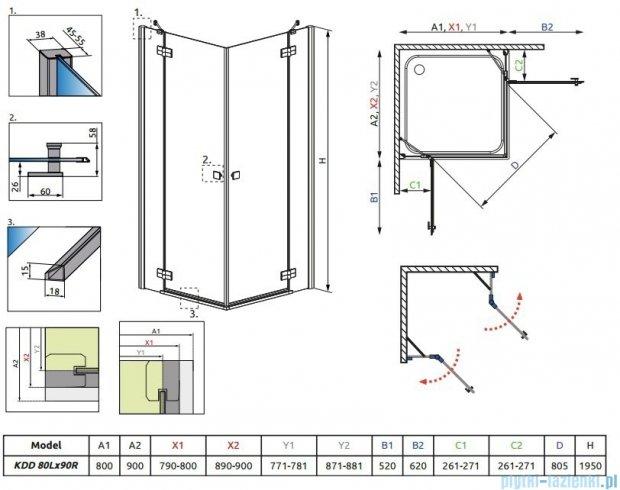 Radaway Kabina prysznicowa Almatea Kdd 80x90 szkło grafitowe + brodzik Doros D + syfon 32187-01-05N