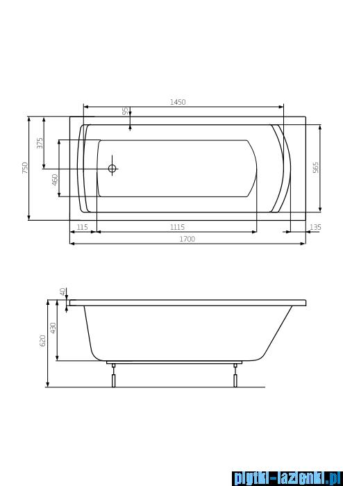 Roca Linea XL wanna 170x75cm z hydromasażem Effects Titanium A24T057000