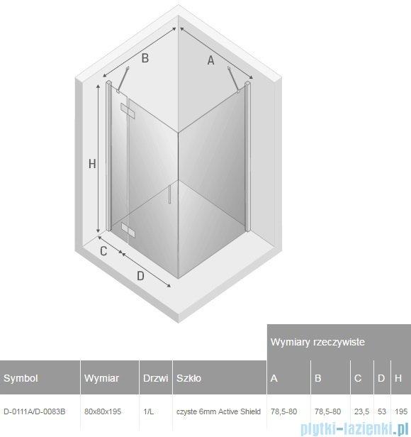 New Trendy New Renoma kabina kwadratowa 80x80x195cm przejrzyste lewa D-0111A/D-0083B