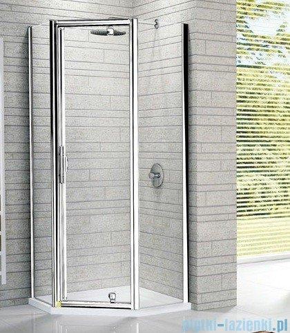 Novellini Kabina prysznicowa pięciokątna LUNES Pentagon G 120x90 cm szkło przejrzyste profil biały LUNESPG120-1D