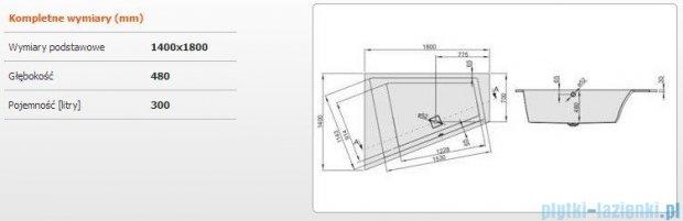 Sanplast Space Line Wanna trapezowa lewa+adapter z pokrywką WTL/SPACE 180x140 cm, 610-100-1150-01-000