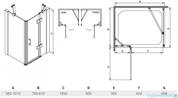 Besco Viva kabina prostokątna lewa 100x80x195cm przejrzyste VPL-100-195C