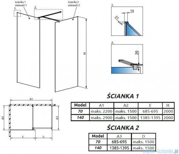 Radaway Modo New III kabina Walk-in 140x70x200 szkło przejrzyste 389144-01-01/389074-01-01/389000-01