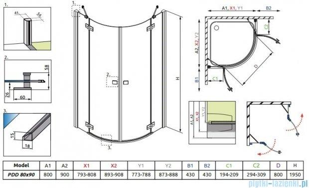Radaway Almatea PDD E Kabina półokrągła 90x80 szkło przejrzyste 30532-01-01N