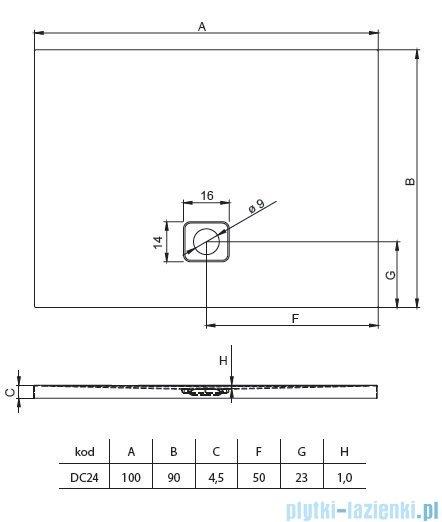 Riho Basel 414 brodzik prostokątny czarny połysk 100x90x4,5cm DC2416