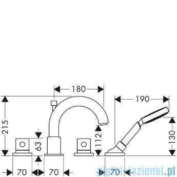 Hansgrohe Axor Uno² Element zewnętrzny do baterii 4-otworowej do montażu na brzegu wanny 38444000