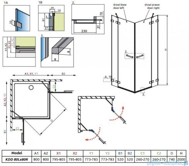 Radaway Euphoria KDD Kabina prysznicowa 80x80 szkło przejrzyste + brodzik Delos C + syfon 383061-01L/383061-01R/SDC0808-01