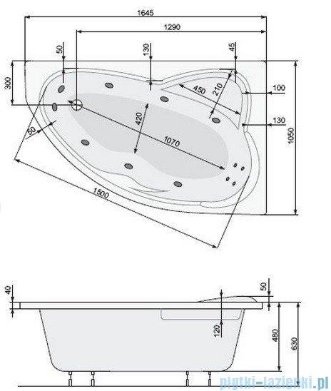 Poolspa Wanna asymetryczna EUROPA 165x105 prawa + hydromasaż Smart 2 PHA4610ST2C0000