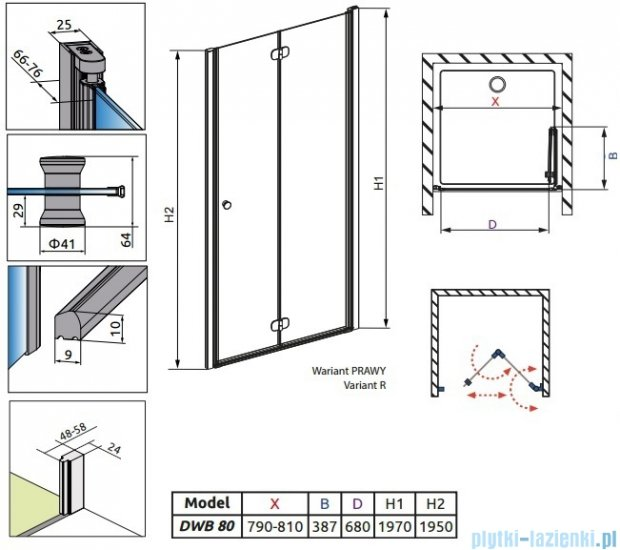 Radaway Eos DWB Drzwi wnękowe 80 prawe szkło przejrzyste + brodzik Delos C + syfon 37813-01-01NR