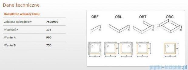 Sanplast Obudowa do brodzika OBL 75x90x17,5 cm 625-403-1220-01-000