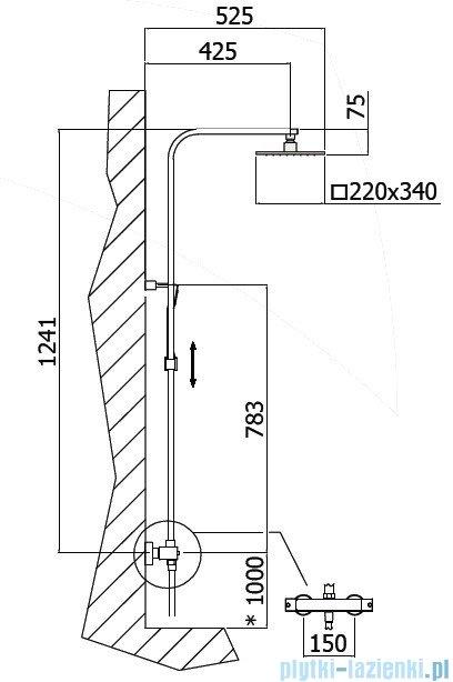 Paffoni CITY Kolumna prysznicowa z baterią termostatyczną chrom ZCOL665CR