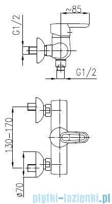 KFA BAZALT Bateria natryskowa ścienna 4706-010-00