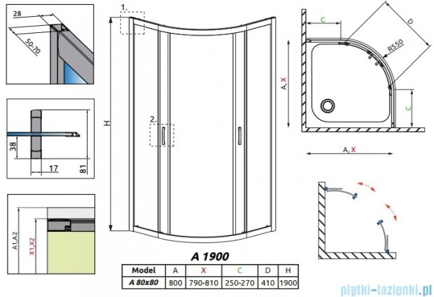 Radaway Premium Plus A Kabina półokrągła 80x80 grafitowe 30413-01-05N