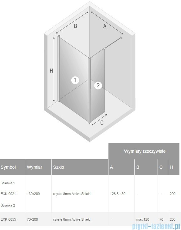New Trendy New Modus kabina Walk-In 130x70x200 cm przejrzyste EXK-0021/EXK-0055