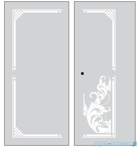 Kerasan Retro Kabina prostokątna prawa szkło dekoracyjne piaskowane profile złoty 80x96 9144P1