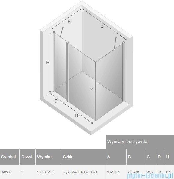 New Trendy New Soleo 100x80x195 cm kabina prostokątna przejrzyste K-0397