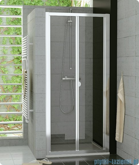SanSwiss Top-Line Drzwi 2-częściowe 100cm profil biały TOPK10000407