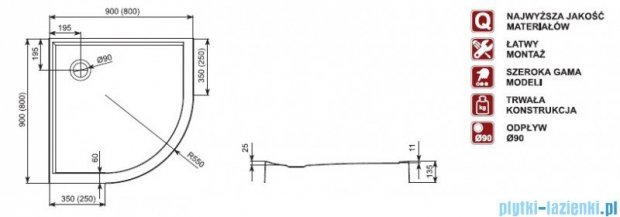 Aquaform Puenta Swing kabina prysznicowa półokrągła 90x90cm+brodzik+syfon KPL06326