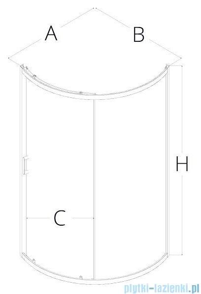 New Trendy Adora kabina 90x90x190cm półokrągła R67 grafit K-0285