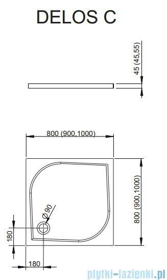 Radaway Euphoria DWJ Drzwi wnękowe 90 prawe szkło przejrzyste + brodzik Delos C + syfon 383013-01R/SDC0909-01