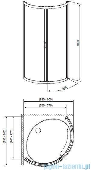 Radaway Premium Plus B Kabina półokrągła z drzwiami jednoczęściowymi 90x90 szkło brązowe 30473-01-08N