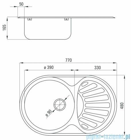 Deante Twist zlewozmywak 1-komorowy okrągły z ociekaczem 77X48 cm satyna ZEU 011B