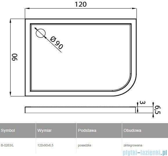 New Trendy Arena brodzik asymetryczny 120x90x6cm lewy B-0263