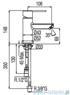 Tres Lex-Tres Bateria do bidetu lub Wc chrom 1.81.113