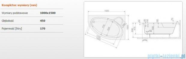 Sanplast Comfort Wanna asymetryczna prawa+stelaż WAP/CO 150x100+ST5 610-060-0250-01-000